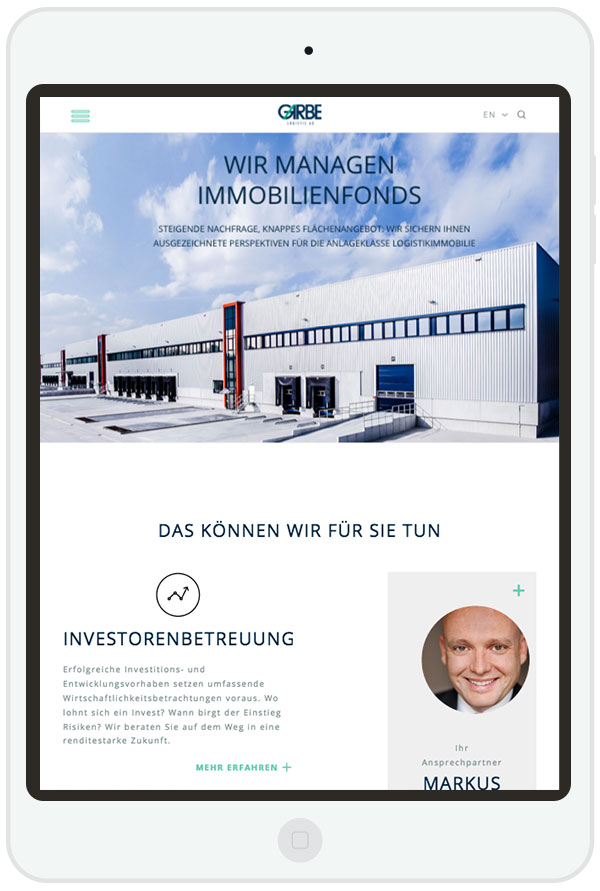 Responsive Website für Garbe Industrial Real Estate