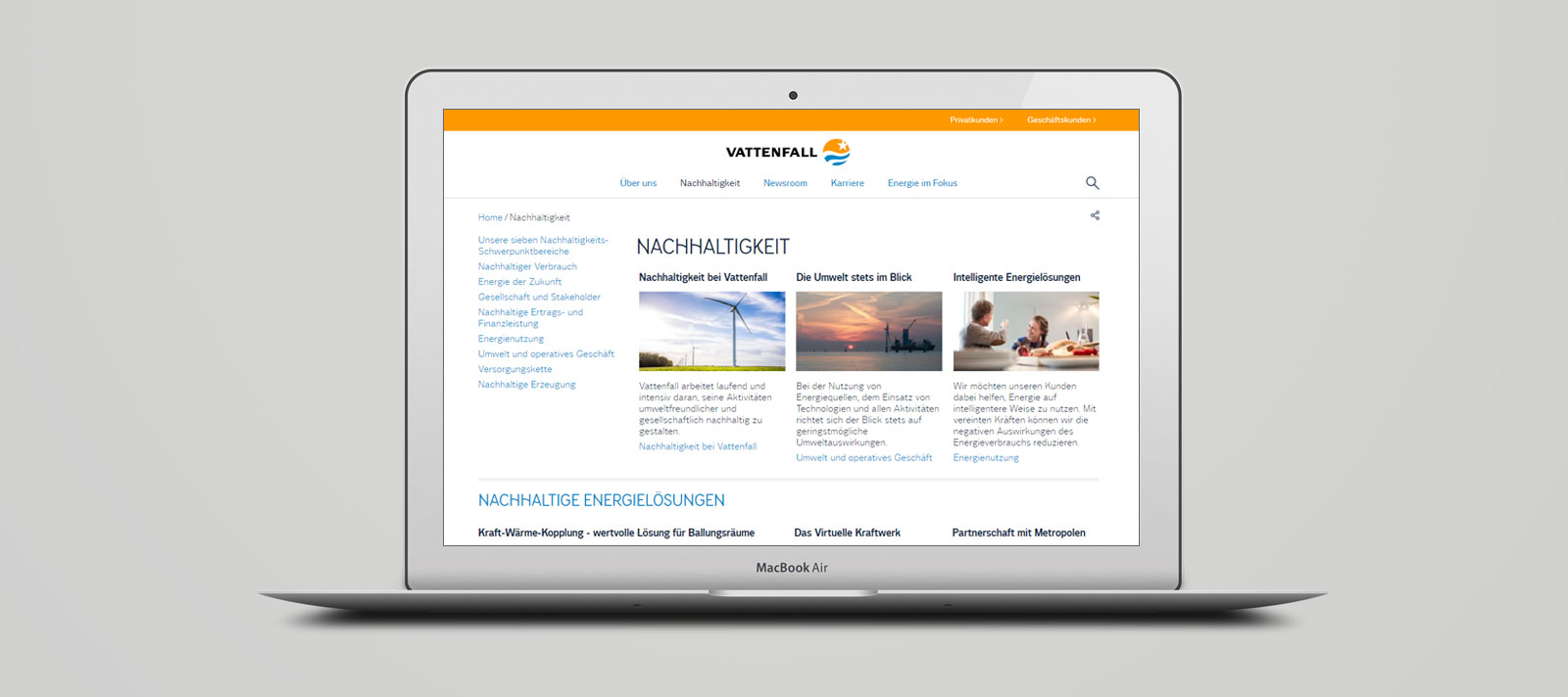 Corporate Website von Vattenfall